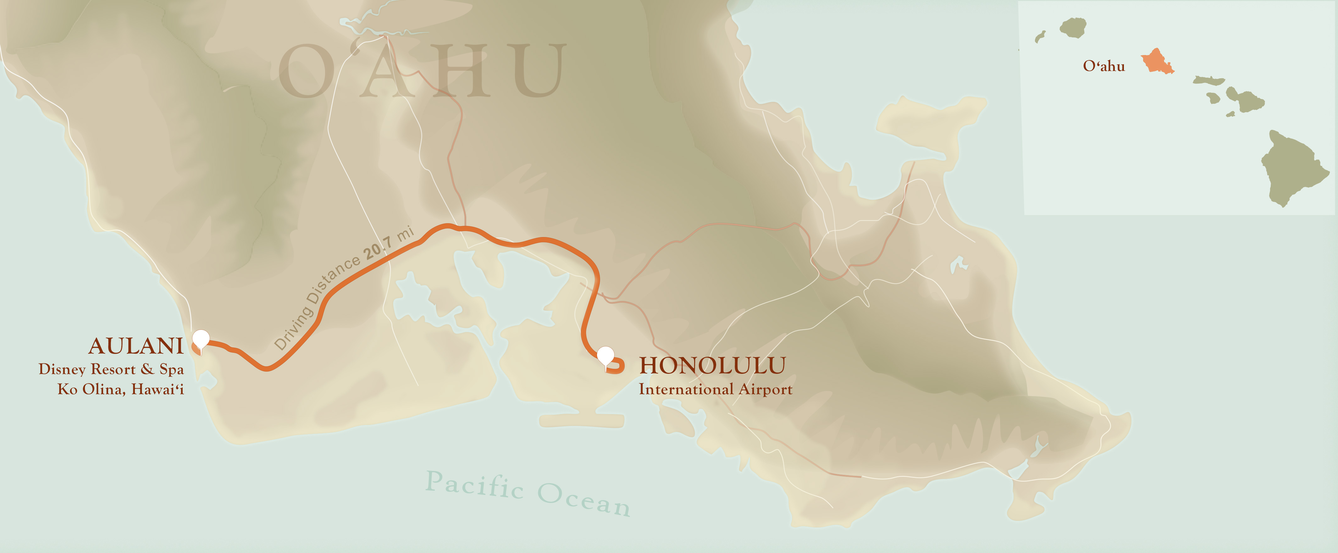 An Oʻahu map that features Aulani and Honolulu International Airport