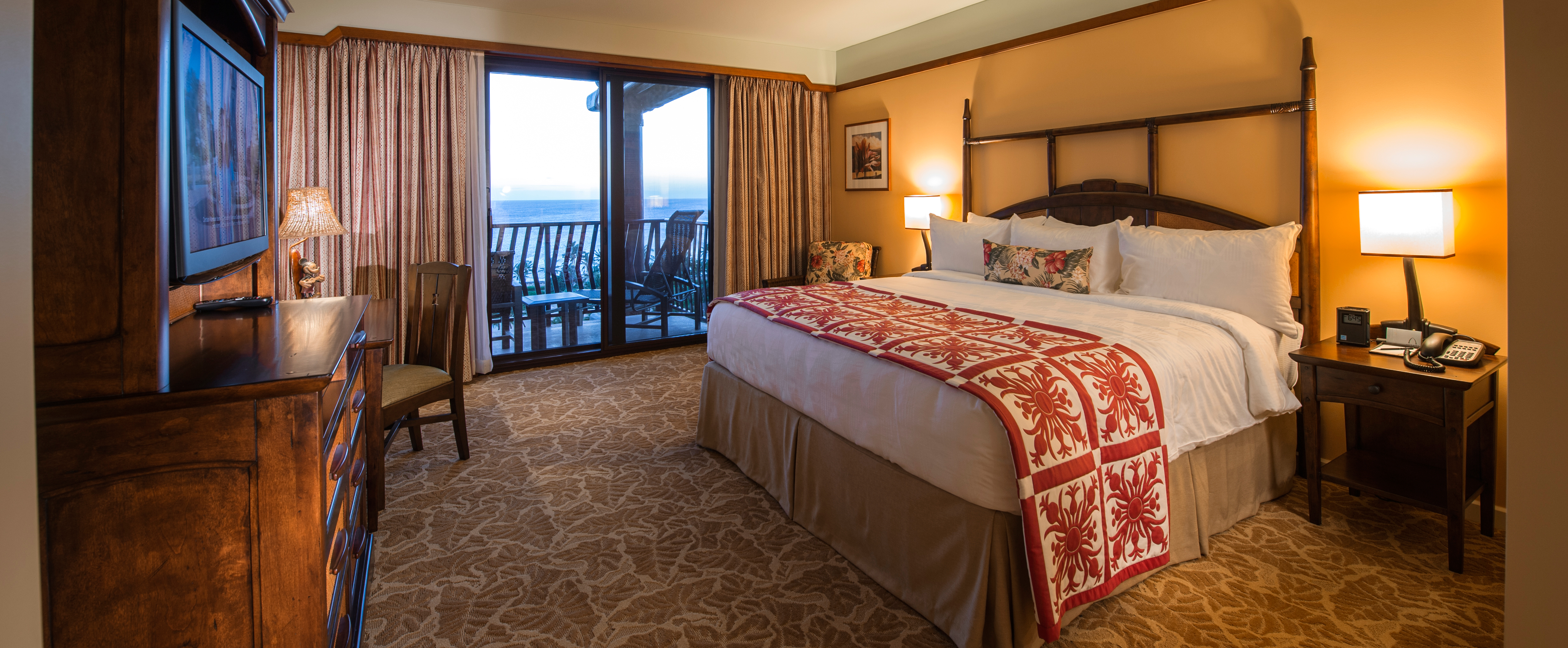 The master bedroom in the 3-Bedroom Grand Villa at Aulani