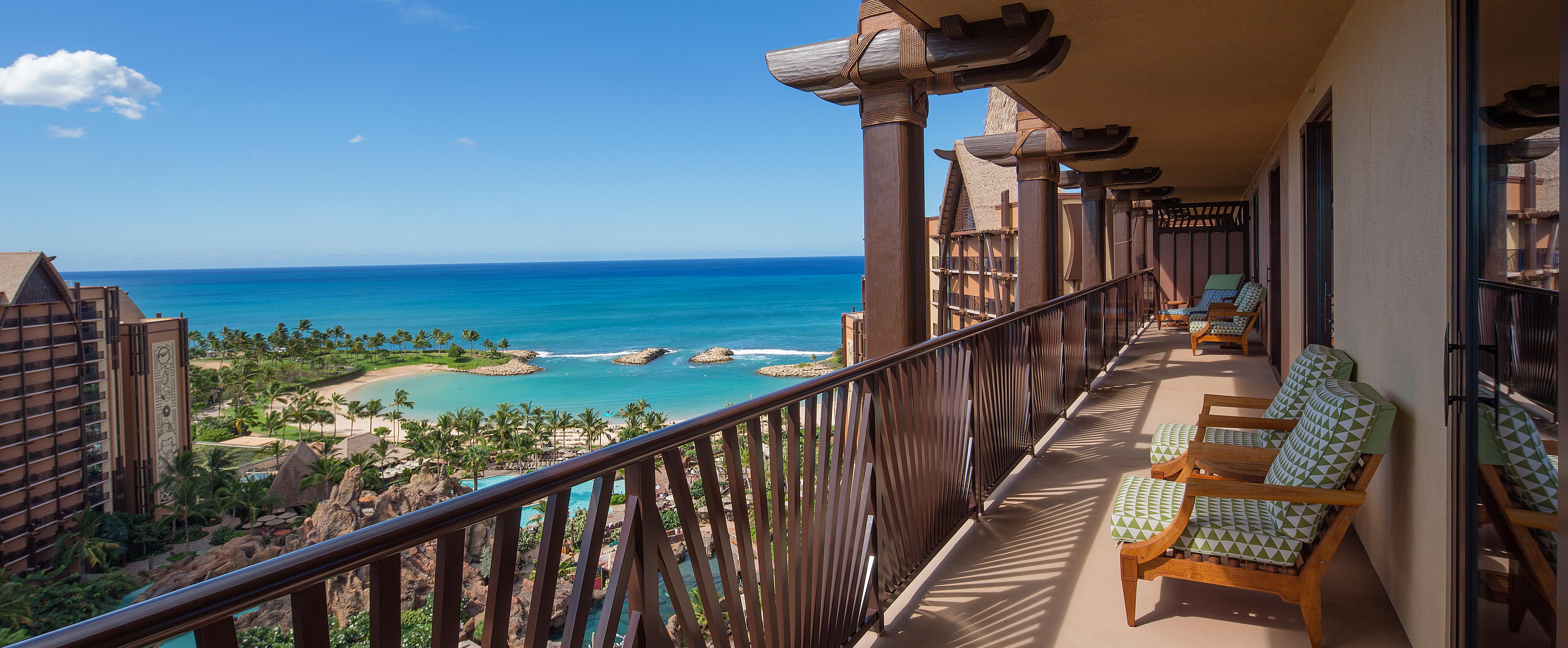 A balcony overlooking the Aulani beach