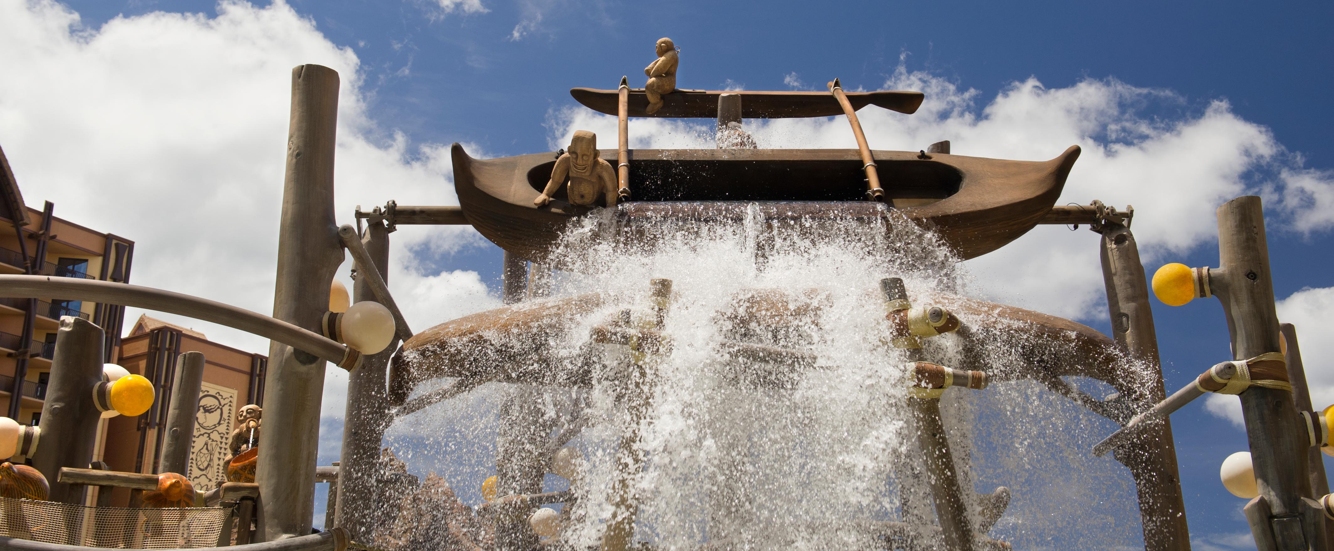 Water cascading down Menehune Bridge