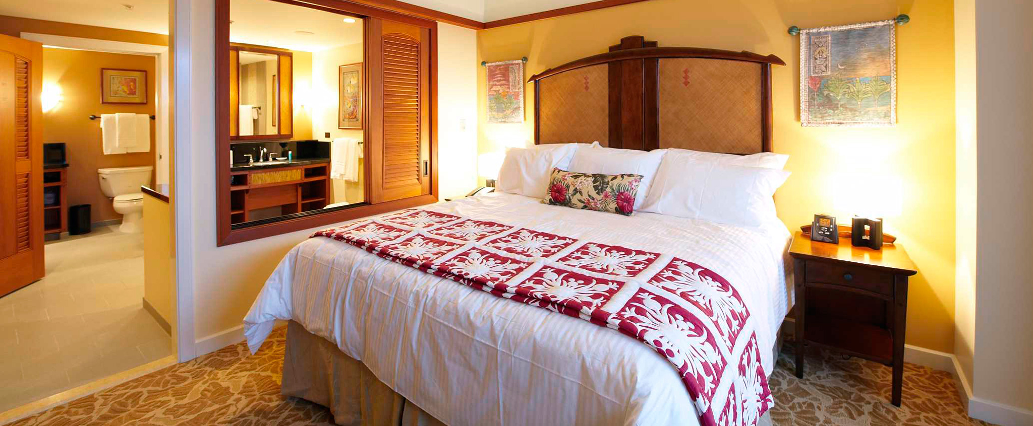 The 1-Bedroom Villa features crisp linens, warm wood accents and a large bathroom