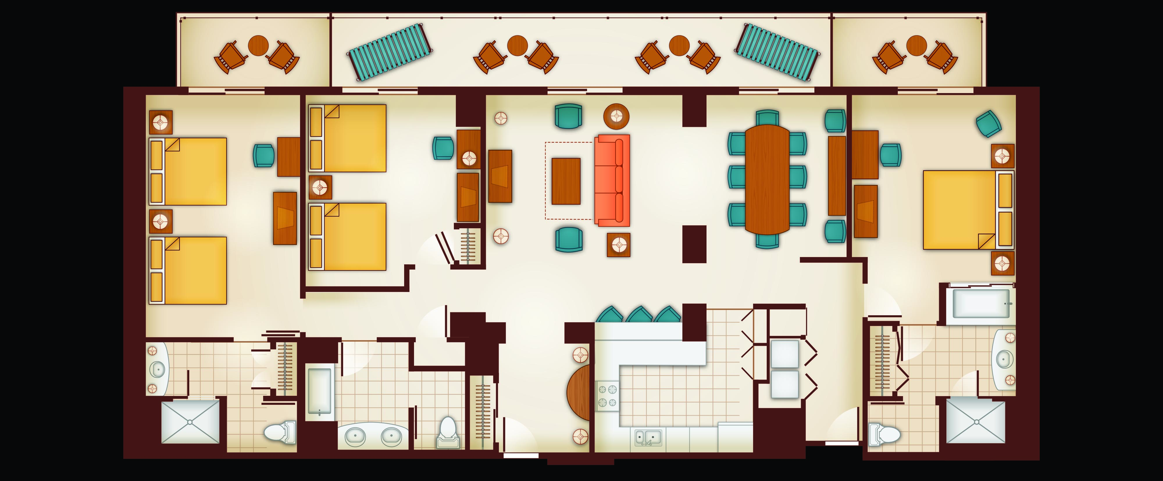 Floor Plan of a 3-Bedroom Grand Villa