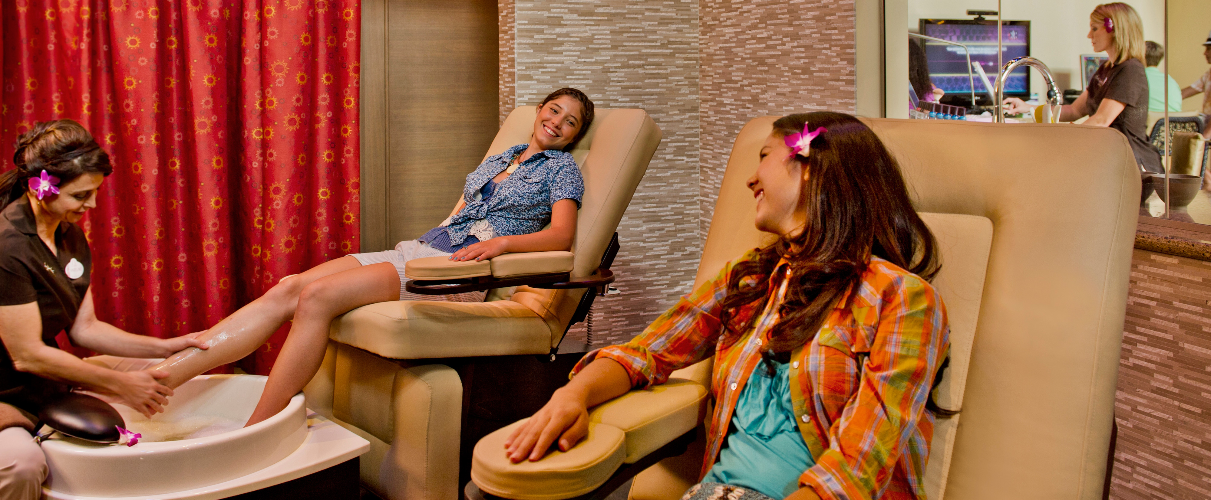 Pedicures: Teens relax over pampering treatments at Painted Sky spa.