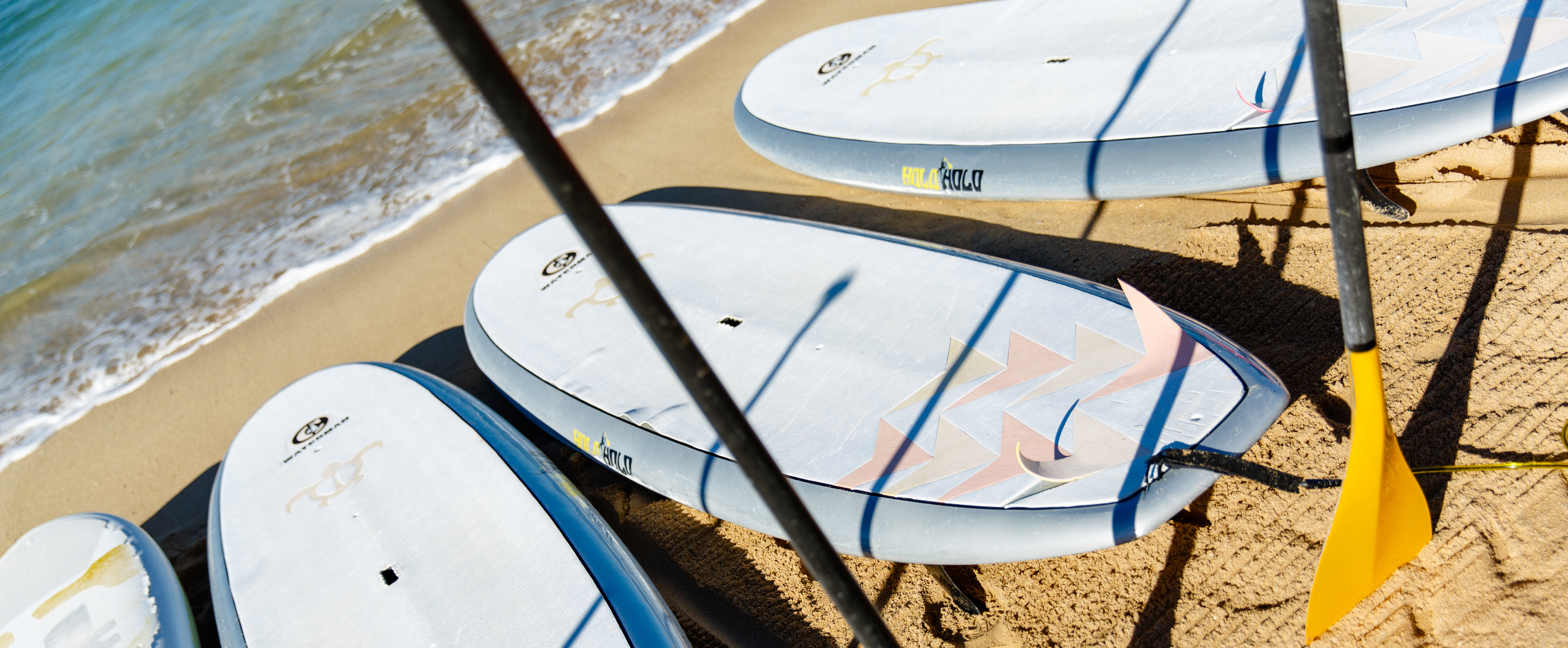 Four stand-up paddleboards with oars lined up on the sand at the water's edge
