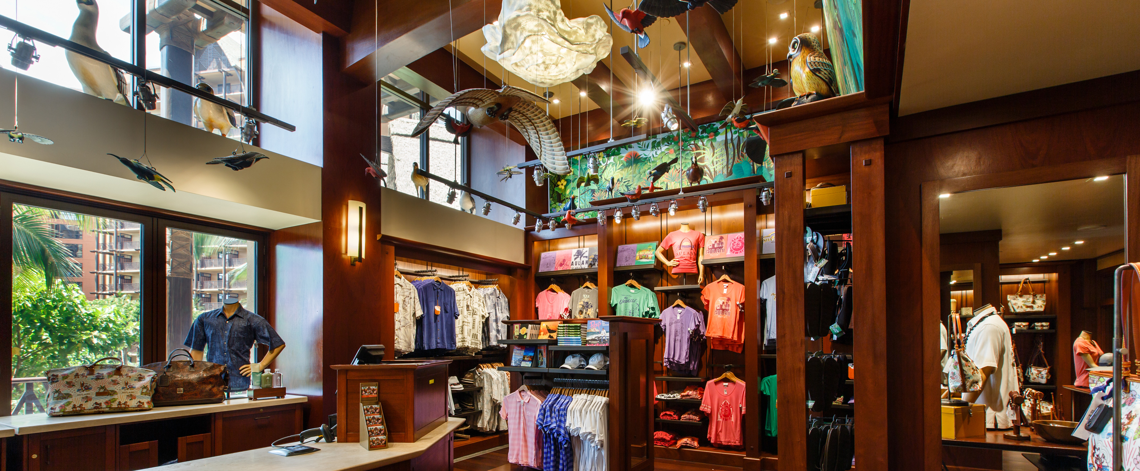 Hanging birds, apparel displays and the cash wrap counter inside Hale