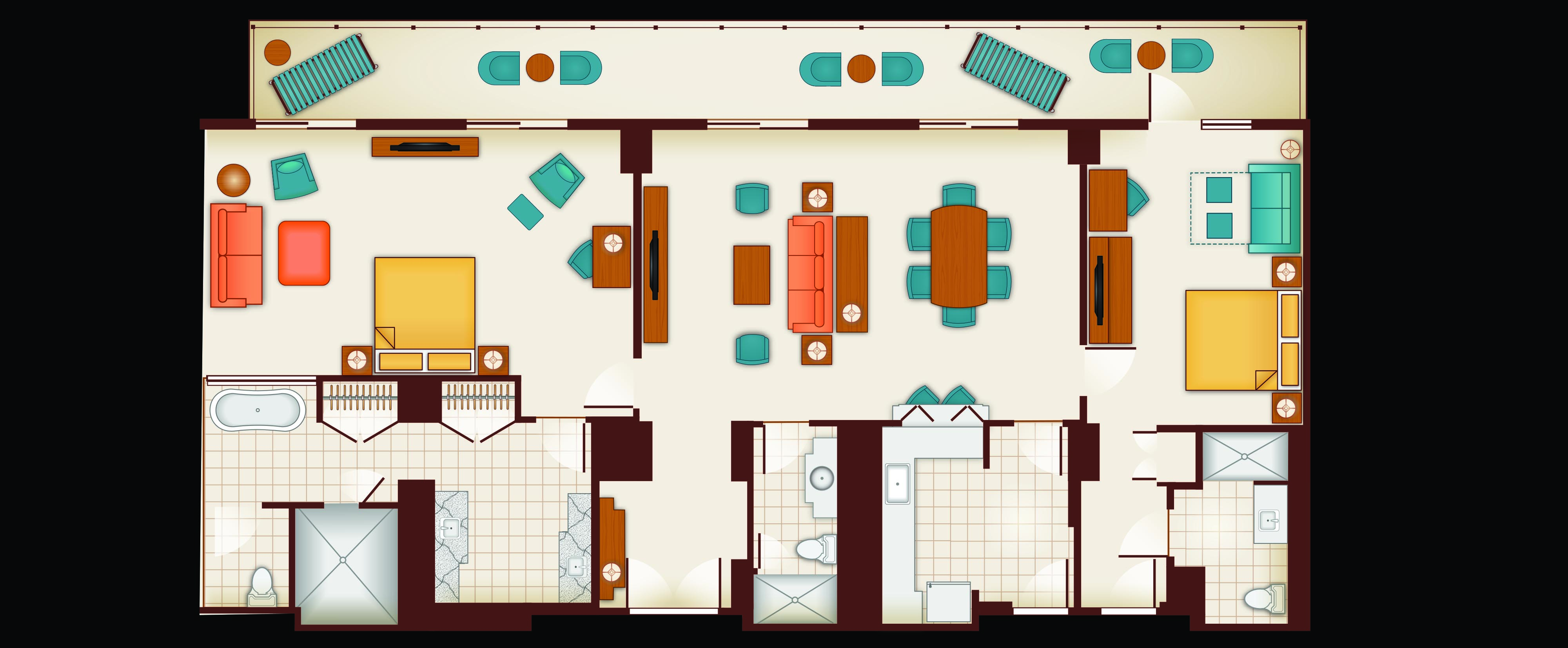 Floor Plan of an ʻAhu ʻUla Signature 2-Bedroom Suite