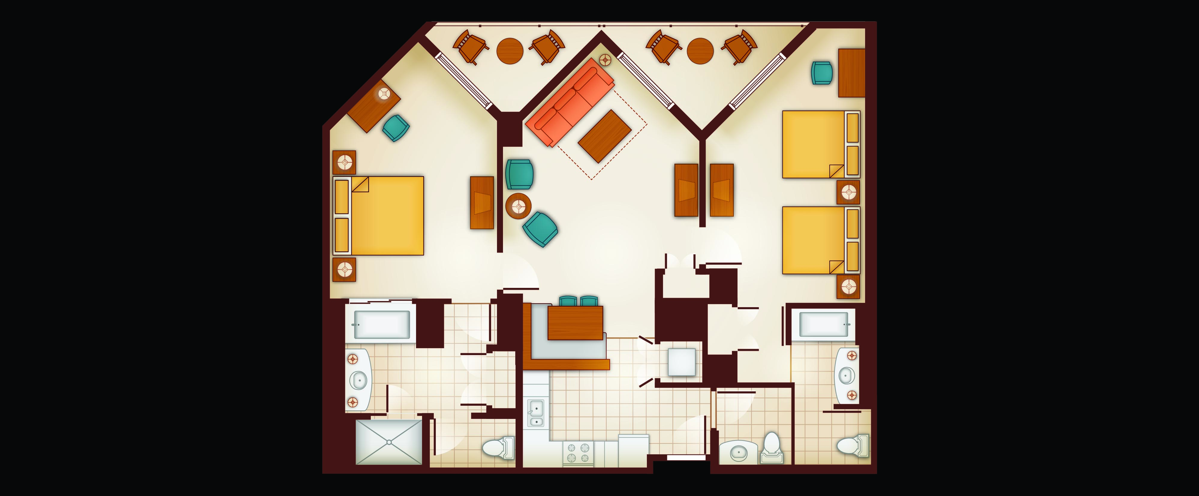 Floor Plan of a 2-Bedroom Villa